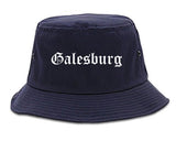 Galesburg Illinois IL Old English Mens Bucket Hat Navy Blue