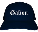 Galion Ohio OH Old English Mens Trucker Hat Cap Navy Blue