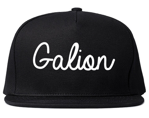Galion Ohio OH Script Mens Snapback Hat Black