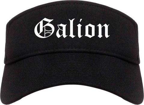 Galion Ohio OH Old English Mens Visor Cap Hat Black