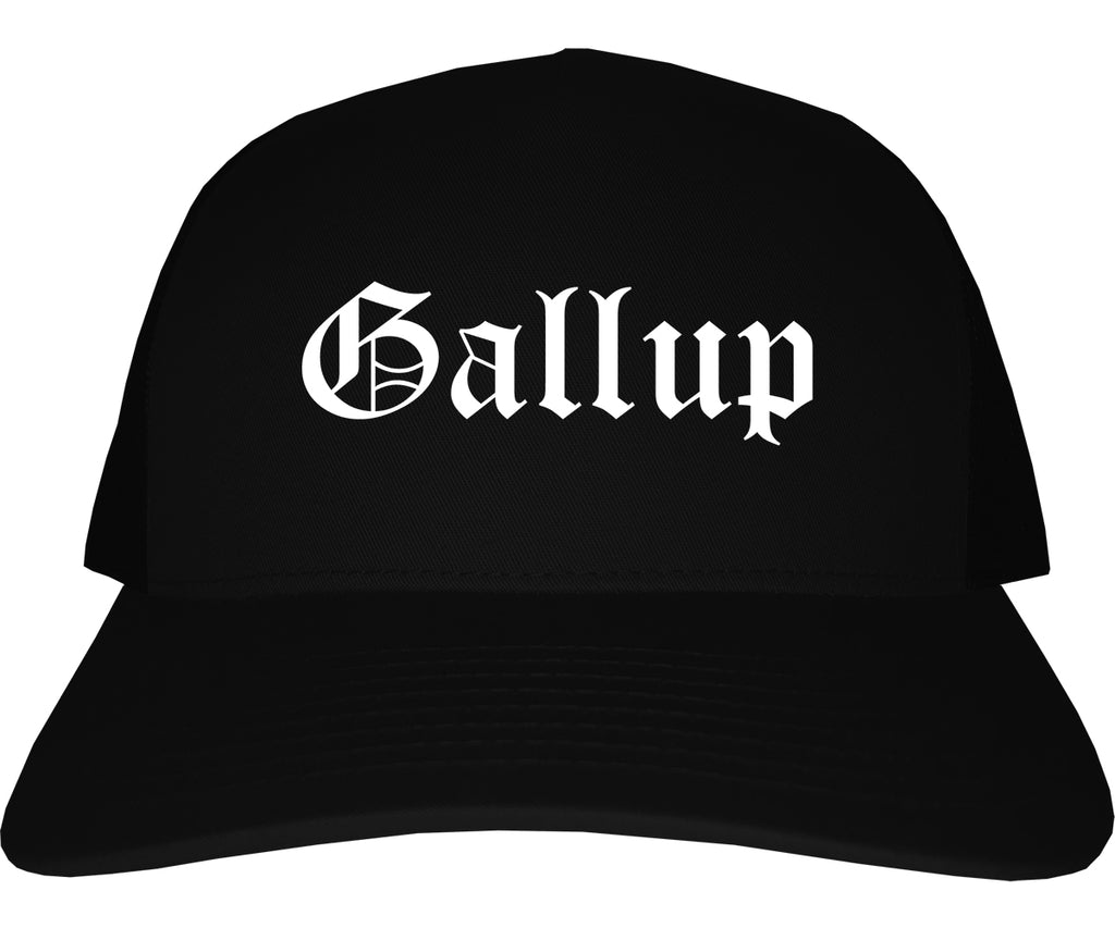 Gallup New Mexico NM Old English Mens Trucker Hat Cap Black