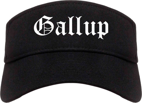 Gallup New Mexico NM Old English Mens Visor Cap Hat Black