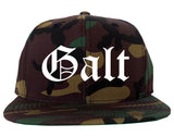 Galt California CA Old English Mens Snapback Hat Army Camo