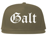 Galt California CA Old English Mens Snapback Hat Grey