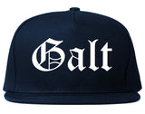 Galt California CA Old English Mens Snapback Hat Navy Blue