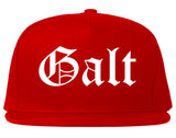 Galt California CA Old English Mens Snapback Hat Red