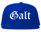 Galt California CA Old English Mens Snapback Hat Royal Blue