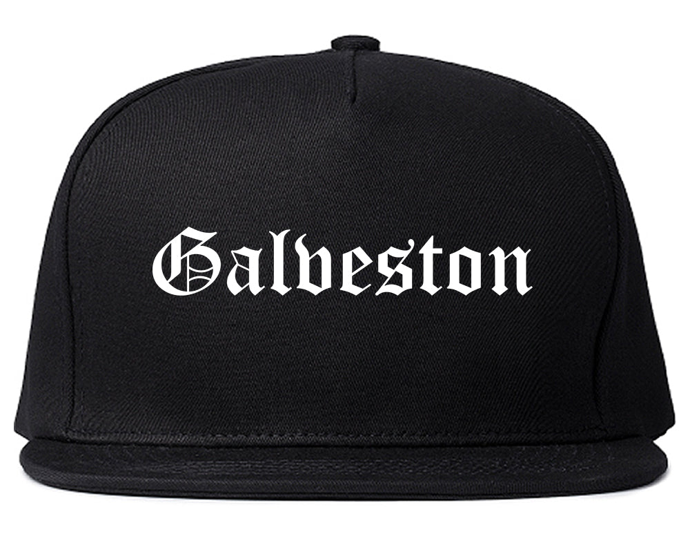 Galveston Texas TX Old English Mens Snapback Hat Black