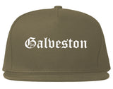 Galveston Texas TX Old English Mens Snapback Hat Grey