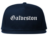 Galveston Texas TX Old English Mens Snapback Hat Navy Blue