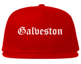 Galveston Texas TX Old English Mens Snapback Hat Red