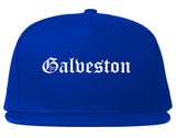 Galveston Texas TX Old English Mens Snapback Hat Royal Blue