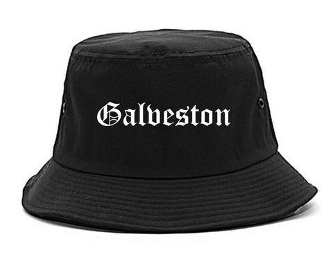 Galveston Texas TX Old English Mens Bucket Hat Black