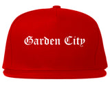 Garden City New York NY Old English Mens Snapback Hat Red