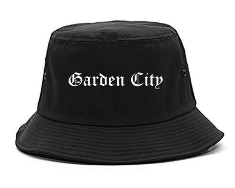 Garden City New York NY Old English Mens Bucket Hat Black