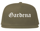 Gardena California CA Old English Mens Snapback Hat Grey