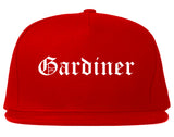 Gardiner Maine ME Old English Mens Snapback Hat Red