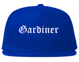 Gardiner Maine ME Old English Mens Snapback Hat Royal Blue