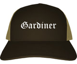 Gardiner Maine ME Old English Mens Trucker Hat Cap Brown