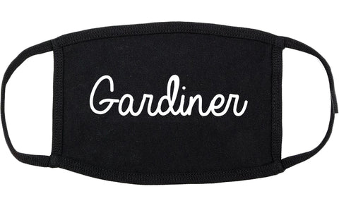 Gardiner Maine ME Script Cotton Face Mask Black