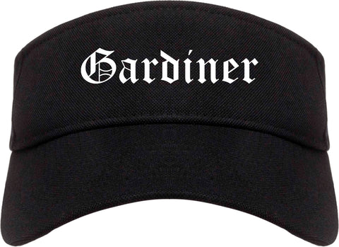 Gardiner Maine ME Old English Mens Visor Cap Hat Black