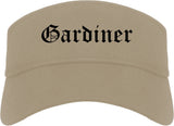 Gardiner Maine ME Old English Mens Visor Cap Hat Khaki