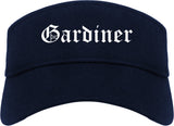 Gardiner Maine ME Old English Mens Visor Cap Hat Navy Blue
