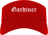 Gardiner Maine ME Old English Mens Visor Cap Hat Red