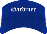 Gardiner Maine ME Old English Mens Visor Cap Hat Royal Blue