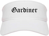 Gardiner Maine ME Old English Mens Visor Cap Hat White