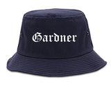 Gardner Kansas KS Old English Mens Bucket Hat Navy Blue