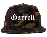 Garrett Indiana IN Old English Mens Snapback Hat Army Camo