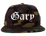 Gary Indiana IN Old English Mens Snapback Hat Army Camo