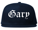 Gary Indiana IN Old English Mens Snapback Hat Navy Blue