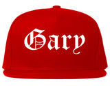 Gary Indiana IN Old English Mens Snapback Hat Red