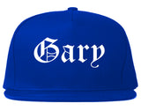 Gary Indiana IN Old English Mens Snapback Hat Royal Blue
