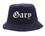 Gary Indiana IN Old English Mens Bucket Hat Navy Blue