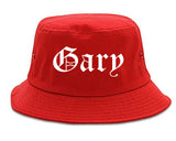Gary Indiana IN Old English Mens Bucket Hat Red