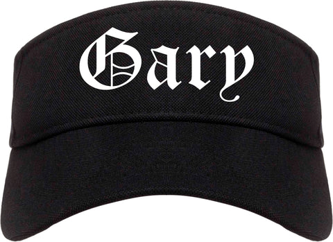 Gary Indiana IN Old English Mens Visor Cap Hat Black
