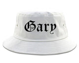 Gary Indiana IN Old English Mens Bucket Hat White