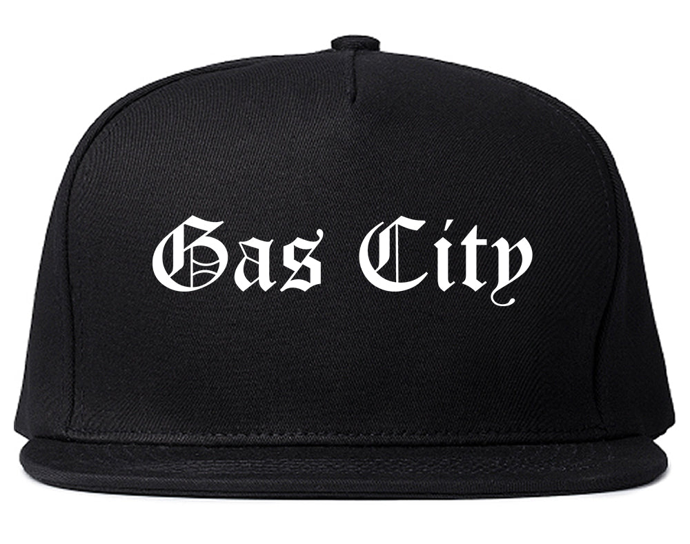 Gas City Indiana IN Old English Mens Snapback Hat Black