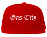 Gas City Indiana IN Old English Mens Snapback Hat Red
