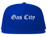 Gas City Indiana IN Old English Mens Snapback Hat Royal Blue