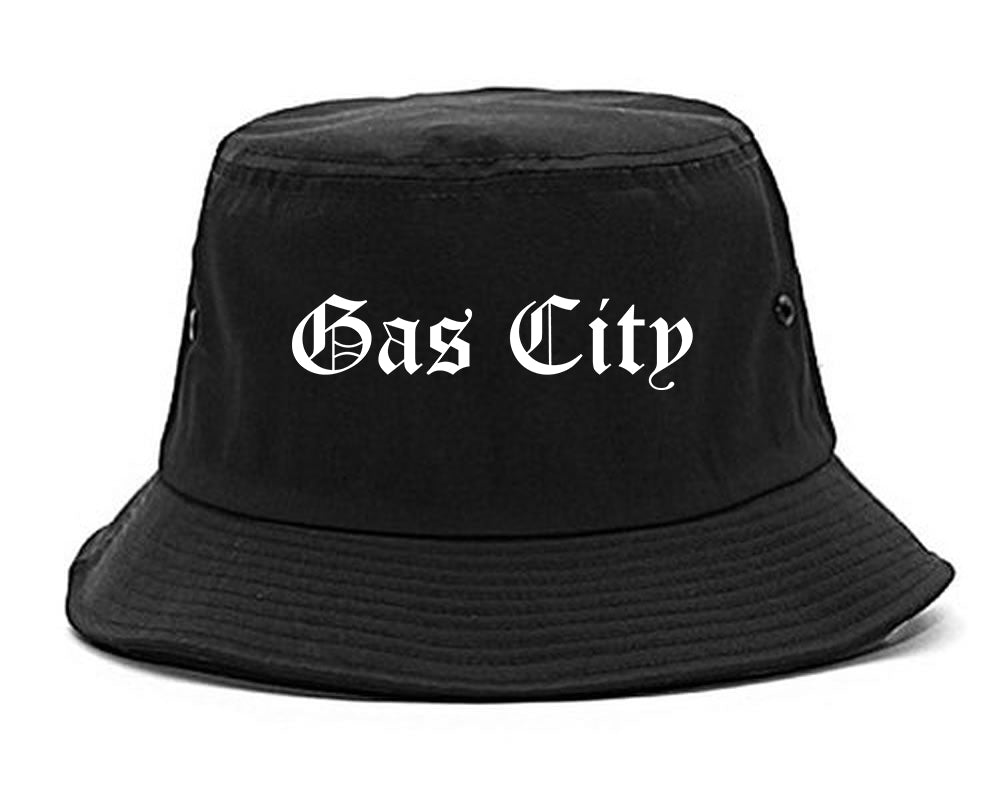 Gas City Indiana IN Old English Mens Bucket Hat Black