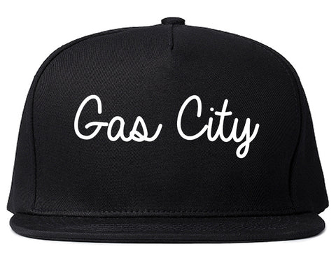 Gas City Indiana IN Script Mens Snapback Hat Black