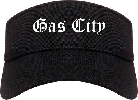 Gas City Indiana IN Old English Mens Visor Cap Hat Black