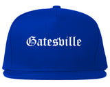 Gatesville Texas TX Old English Mens Snapback Hat Royal Blue