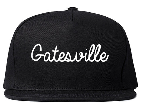 Gatesville Texas TX Script Mens Snapback Hat Black