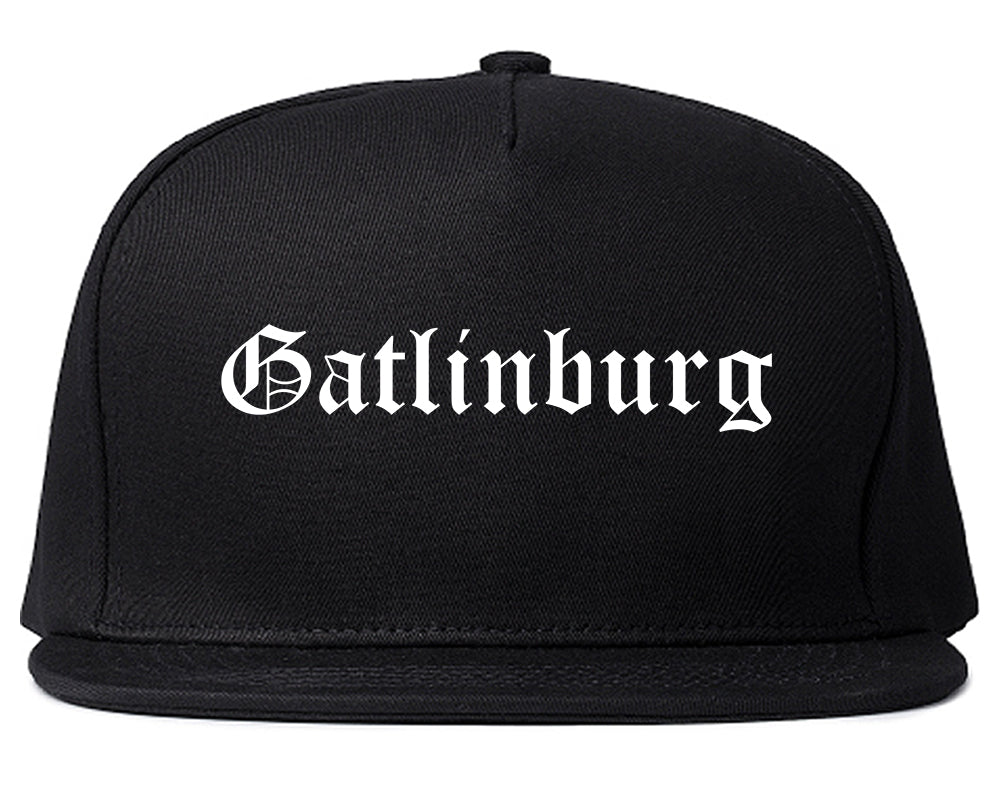 Gatlinburg Tennessee TN Old English Mens Snapback Hat Black