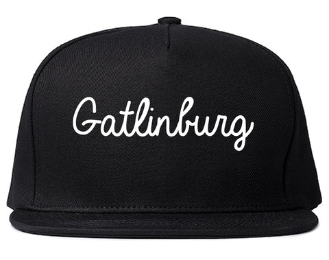 Gatlinburg Tennessee TN Script Mens Snapback Hat Black